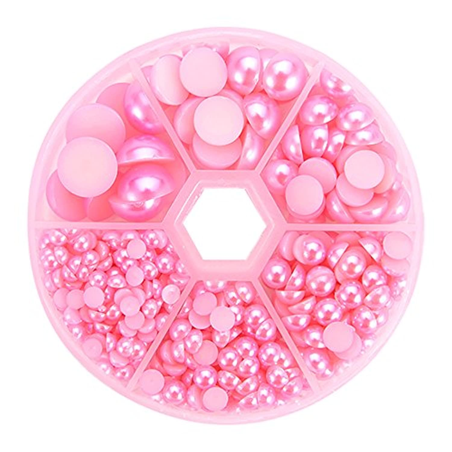 PandaHall Elite About 690 Pcs Pink Flat Back Half Round Pearl Cabochon Diameter 4-12mm for Nail Craft DIY Decoration