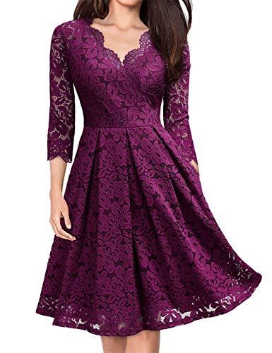 KOJOOIN Damen 1950er Vintage Brautjungfernkleider für Hochzeit Kurzes A-Linie Abendkleider, Grape...