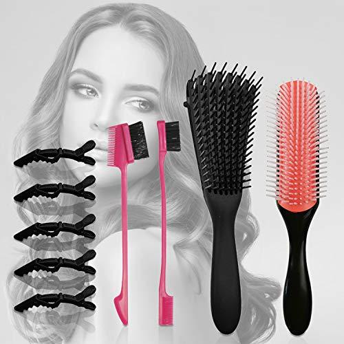 Xnuoyo Haarkamm und Bürsten Set, Profi Entwirrungsbürste Stylingbürsten, Entwirrer leicht mit Nass/Trocken Stylingbürste zur Haarentwirrung mit 2 Stylingkämmen, 2 Augenbrauenbürsten, 5 Haarspangen