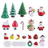 Weihnachts-Miniatur-Ornamente-Set, 29-teilig, Weihnachts-Schneedecke, Mini-Weihnachtsbaum, Rentier,...