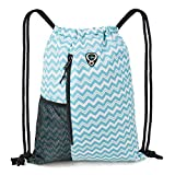 Drawstring Backpack Sports Gym Bag for Women Men Children Large Size with Zipper and Water Bottle Mesh Pockets (Teal Wave)