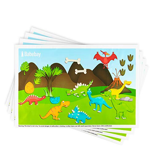 Disposable Placemats Stick-on for Baby & Kids Table Topper Disposable, Toddler Placemats in Reusable Pouch 40 Pack 12' x 18', Dinosaurs Sticky Place Mats, BPA Free Plastic Keep Dirt Away