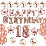 sancuanyi 18th Happy Birthday Cumpleaños Globo Oro Rosa y 20 Piezas de Globos para Fiestas para Niñas y Mujeres