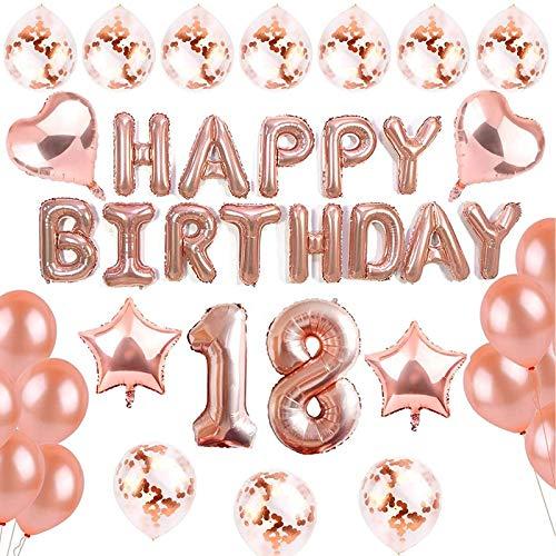 sancuanyi 18 Ans Anniversaire Décorations Or Rose Happy Birthday Bannière Ballon et 20 pièces de Ballons Party Supplies for Girls and Women