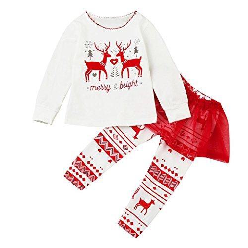 Hirolan Babykleidung Ausgehende Baby Mädchen Hirsche Drucken Tops Tutu Hose 2Stk Lange Hülse Bequem Kleider Set Kinder Kleinkind Outfits (90CM, Weiß)