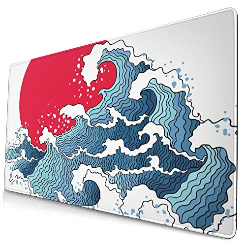 Franhais Ocean Gaming Mousepad Japanese The Great Wave Off Kanagawa Pattern Mouse Pad Computer Game Mouse Mat 29.5x15.8 Inch (Style 7)