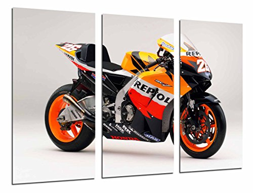 Afbeelding motorfiets Honda Dani Pedrosa Oranje Totale grootte: 97 x 62 cm XXL