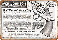 8 x 12 cm メタル サイン - 1910 アイバー ジョンソン ウォルナット グリップ リボルバー メタルプレートブリキ 看板 2枚セットアンティークレトロ
