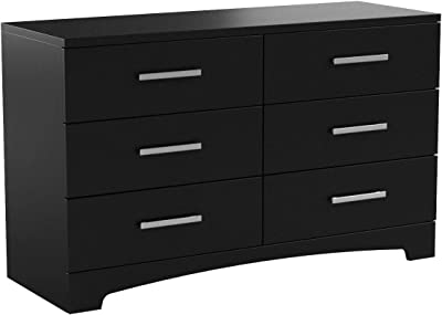 South Shore Gramercy 6-Drawer Double Dresser, Pure Black with Brushed Nickel Handles