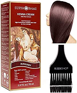 Surya Brasil All Natural HENNA Hair Color CREAM Plant Extracts, Semi-Permanent for Grey Coverage (with Brush) Brazil (BURG...