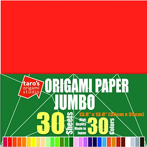 [Taro's Origami Studio] Jumbo 13.8 Inch One Sided 30 Colors 30 Sheets Square Easy Fold Premium Japanese Paper for Beginner (Imported Product from Japan)