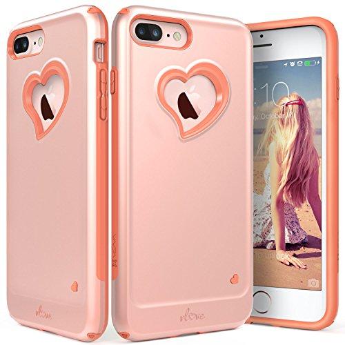 iPhone 8 Plus Case, iPhone 7 Plus Case, Vena [vLove][Heart-Shape | Dual Layer Protection] Hybrid Bumper Cover for Apple iPhone 8 Plus, iPhone 7 Plus (5.5