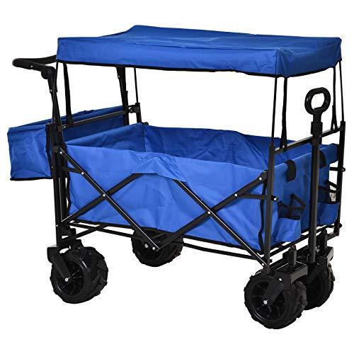 DURHAND Faltbarer Bollerwagen mit Dach, Handwagen, Gartenwagen für Outdoor-Veranstaltungen, inkl. extra Staubox und 2 Becherhaltern, Oxfordstoff, Blau, 110 x 56 x 101 cm