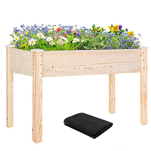 EAGLE PEAK Wooden Raised Garden Bed, Outdoor Elevated Wood Planter Box Kit for Vegetable, Flower, Herb in Patio, Backyard, Balcony, 48 x 24 x 30 Inch, Natural