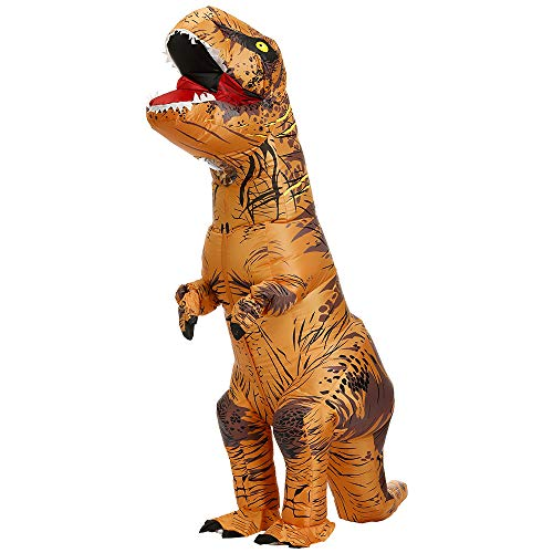 NGOVINY Adult T-Rex Inflatable Cosplay Costume Dinosaur Suit Tyrannosaurus Blow Up Jumpsuit Outfit (Free Size, Brown)