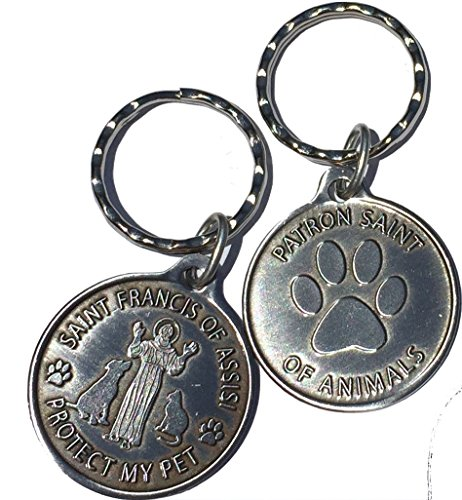 Saint Francis of Assisi Patron Saint Of Pets / Protect My Pet Pewter Color Keychain