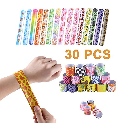 DesignerBox 30 Pcs Slap Bracelets for Kids, Kids Slap Bracelets Slap Bands Snap Bands Wristbands Party Bag Fillers Party Toys for Children Birthday Gifts Christmas Party Favours (30-A)