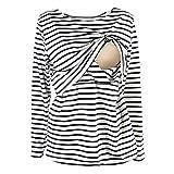 UTOVME Still Shirt für Damen Mutter Langarm Stilltop Verdoppelt Geschichteten Mutterschaft Top Stillen Streifen T-Shirt Weiß M