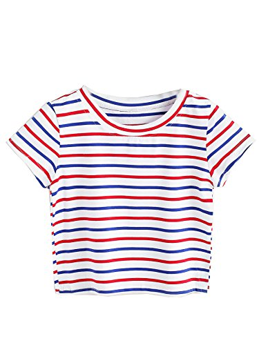 SweatyRocks Women's Striped Ringer Crop Top Summer Short Sleeve T-Shirts Multi M
