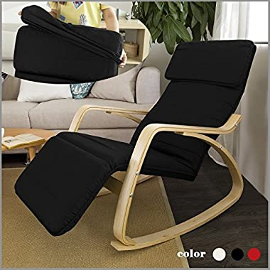 Haotian Comfortable Relax Rocking Chair with Foot Rest Design, Lounge Chair, Recliners Poly-cotton Fabric Cushion FST16 (black)