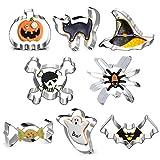 Formine Biscotti Halloween, 8 Stampi Biscotti Halloween, Acciaio Inox, per Biscotti Frutta Torta Festa Halloween