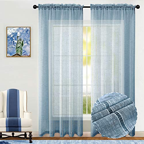 Joywell Denim Curtains 84 Inches for Boys Bedroom Set 2 Panels Rod Pocket Window Drapes Linen Cotton Look Striped Voile Semi Sheer Curtains for Living Room 54x84