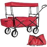 TecTake Carro de Mano Plegable con Techo carretillade Transporte para Utensilios Azul (Rojo | No. 401082)