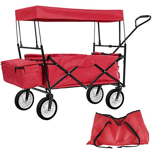 TecTake Chariot pliable avec toit amovible charrette de transport à tirer main - diverses couleurs au choix - (Rouge | No. 401082)