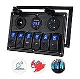 HAI 6 cuadrilla Marina del Barco Panel del Interruptor basculante, 12V RV Impermeable Panel LED Interruptor para el Coche del Carro del Barco Marino, voltímetro Digital de Pantalla Dual USB Puerto