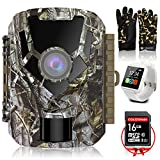 COLORWAY Caméra de Chasse -Hunting Camera 16MP 1080P HD IP65 Étanche, Mini Caméra Surveillance avec 22Pcs LED, Vision Nocturne Infrarouge, Capteur de Mouvement PIR, 2 LCD Ecran (Camera+Montre White)