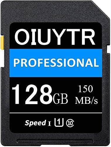 Scheda di memoria SD ad alta capacità OIUYTRsd UHS-I 128GB di memoria SDXC Card Max 150MB/S Velocità, C10, U1, 4K UHD, SD Card per video e fotocamera (128GB)