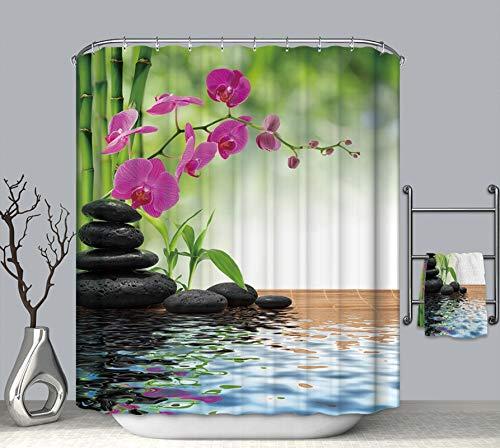 Dreamdge Badezimmervorhänge 120 x 180, Anti-Schimmel Duschvorhang Wasserdicht Polyester Blumen & Kieselsteine mit 12 Duschvorhangringe