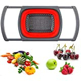 Collapsible Colander Foldable Food Grade Silicone Kitchen Strainer, Over The Sink Vegtable/Fruit Colander Strainer with Extendable Handles(Red)