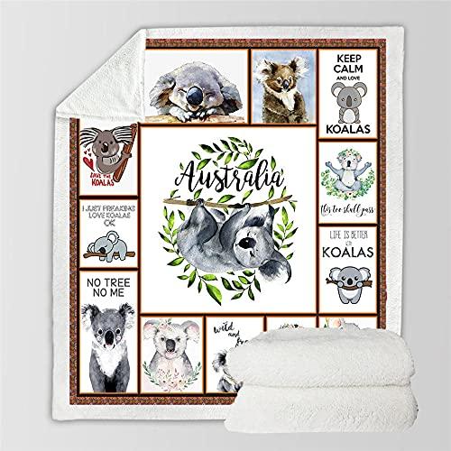 Jerdourb Flauschige Sherpa Kuscheldecke, Hochwertige Wohndecken aus Flannel Fleece Fleecedecke Super Weiche & Warm Decke Tagesdecke oder Wohnzimmerdecke Australien Koala 150x200cm