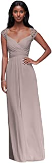 Long Mesh Bridesmaid Dress with Lace Cap Sleeves Style F19505