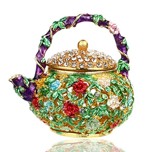 Price comparison product image YUFENG Mini Teapot Trinket Box Hinged For Girls Ring Holder Handmade Ring Holder Dish Decorated (teapot)