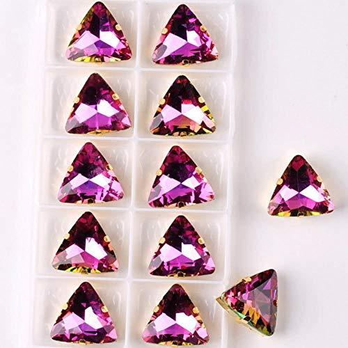 Configuración de garra de oro en forma de triángulo de 18 mm 10 piezas/paquete arcoíris y jalea cristal de color caramelo coser en apliques de diamantes de imitación diy