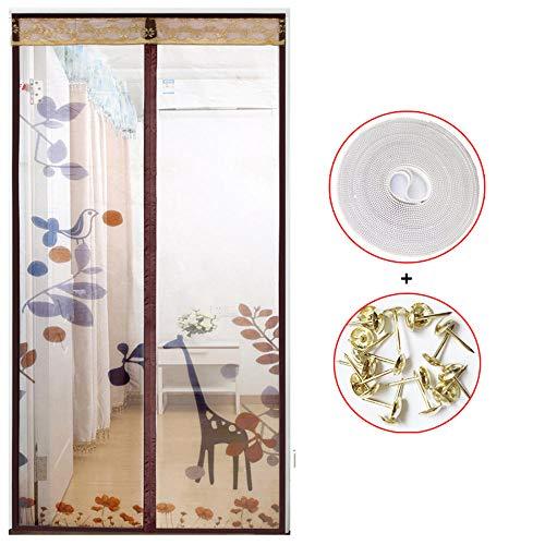 Xervg Balkontür Stiller magnetischer Sommer-Anti-Moskito-Vorhang des Wohnzimmervorhangs-95X210CM_Kaffeefarbe