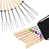FANSIR Barbecue Forks Set of 8 Marshmallow Roasting Sticks Extendable Stainless Steel 32 Inch U Shape Hot Dog Fork with Wooden Handle Grilling Skewers for Camping Campfire Party Picnic Meal Buffet