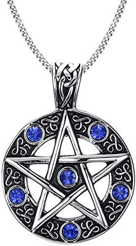 LKHJ Acero Inoxidable Estrella gótica Pentacle Pagan Wiccan Witch Collar Pentagrama Pendiente Hecho de Titanio con Diamantes de imitación Azules