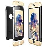 CE-LINK Housse Etui en PC Matière pour iPhone 6, Coque iPhone 6S, Ultra-Mince 3 Part 360 Degrés Cover pour Apple iPhone 6 6S Anti Fine - Or + Noir B077DPNNHT