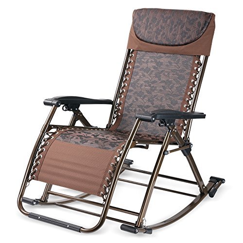 Fly Sillón Plegable Multifuncional Mecedora Silla De Salud Silla De Salón Plegable Cómodo Swing Sala De Estar Doble Uso Oficina Descansar Dormir Camping Jardín Silla (Color : Brown)