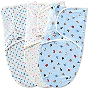 Bubble bear Breathable Soft Cotton Baby Swaddle Blanket Adjustable Infant Baby Wrap for Newborn Boys and Girls,Set 3 Pack (0-3 Months,Package says 3-6 Months is Wrong)