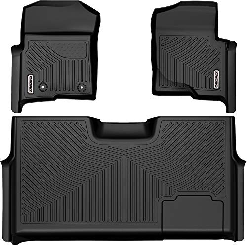OEDRO Floor Mats Liner Compatible with 2010-2014 Ford F-150 F150 SuperCrew/Crew Cab with 1st Row Bucket Seat, Custom Fit 2 Row Set (Front & 2nd Seat), Black TPE All-Weather Guard