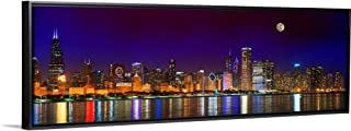 Floating Frame Premium Canvas with Black Frame Wall Art Print Entitled Chicago Skyline with Cubs World Series Lights Night, Moonrise 36