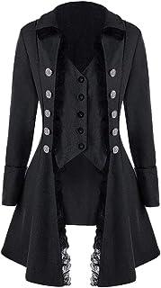Damen Steampunk Gothic Barock Anzug Jacke Mantel Viktorianische Frack Mode Holloween Party Cosplay Kostüm Outwear Schwanzmantel mit Spitze