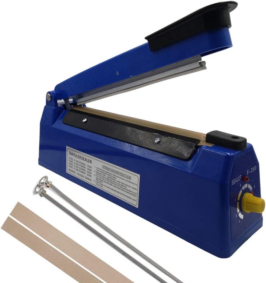 "Upgrade new 110V 8"" (20cm) Impulse Sealer - Manual Plastic Poly Bag Heat Sealing Machine Closer Kit w/Adjustable Timer"