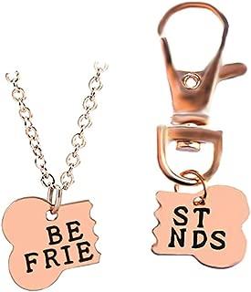 Kebaner Dog Bone Shaped Best Friends Necklace Keychain BFF Jewelry Dog Gift 2pcs/Set - Stainless Steel