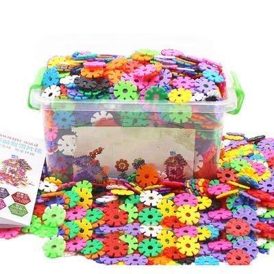 300/500 Stücke Baustein Schneeflocke Mädchen Jungen Kinder ab 3 jahre steckbausteine Spielzeug kreativ Kleinkinder Lernspielzeug lustig Bausteine aus Plastik puzzle mit Aufbewahrungsbox als Geschenk