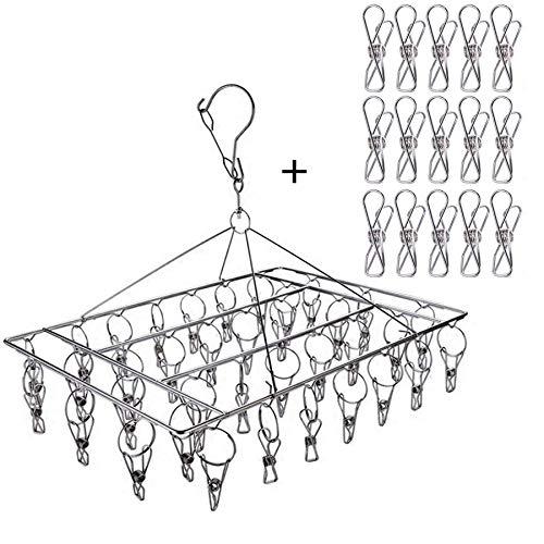 Ruesious stendibiancheria con 36 pinze, in Acciaio Inox, mollette Antivento per asciugare, Vestiti Biancheria Intima, Calzini, Asciugamano